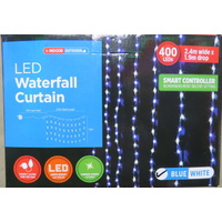 Blue and White LED Waterfall Curtain Light 2.4m long