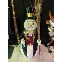 4 Foot Snowman with Candy Cane and Broom