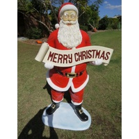 5 Foot Santa with Merry Christmas Banner