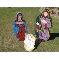 3 Piece 2D Wooden Painted Nativity