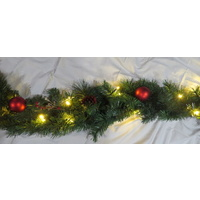 9 Foot Artificial garland with Red Baubles, Pine Cones and Berries (Battery Operated)-sold out