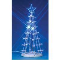 "Lemax 6"" Tall  Blue Lighted Silhouette Tree"