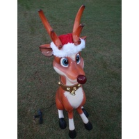 Sitting Rudolph with Light Up Nose