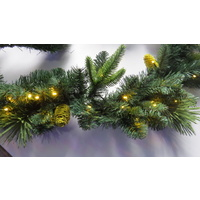 "9 Foot Garland with 50 Warm White Bulbs and Yellow Pine Cones (battery operated) - matches 24"" wreath"