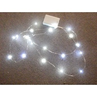 2M Long White Micro battery LED String on Silver Copper Wire