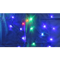 20M Multi Coloured LED Icicles (red green and blue)