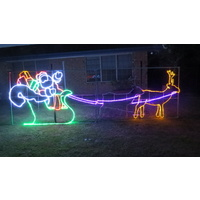 Large Commercial LED Santa Sleigh with 2 Reindeer