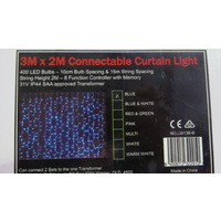 3M x 2m Drop Blue LED Curtain Lights on a Clear Wire