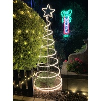 2m Tall Commercial Warm White Spiral Tree on Solid Frame