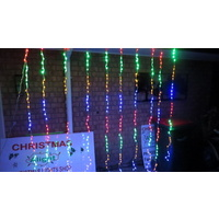 Multi Coloured LED Waterfall Curtain Light 2.4m x 2.4m (see video in description)