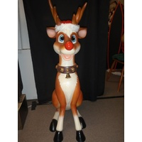 Sitting Reindeer with light up nose