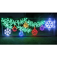 Large LED Garland with 5 Baubles and 2 Snowflakes