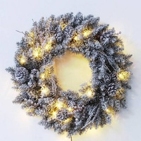 45cm Prelit Heavy Snow Wreath with Pine Cones