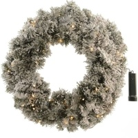 45cm Prelit Plain Snow Wreath
