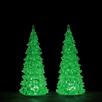 "7"" 3 Colour Changing Crystal lighted Tree - Set of 2"