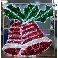 Red LED Double Bells with Holly Rope Light Motif
