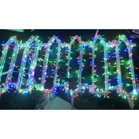 Multi Coloured LED Picket Fence 4.8m long