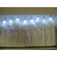 1.5m long White LED Snowman Icicles with Feathers - CLEARANCE PRICE