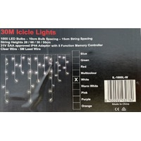 30m White LED icicles - clear wire