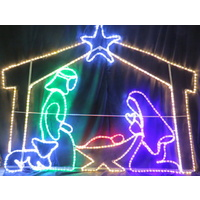 Large LED Nativity with Stable and Sheep