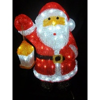 45cm Tall White LED Acrylic Standing Santa