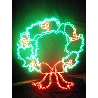 Large Green and Red LED Wreath Rope Light Motif