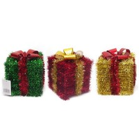 Tinsel Hanging Present - 4 assorted