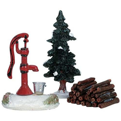Lemax Waterpump, Tree and Stack of Firewood