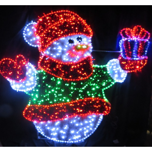 Giant LED Snowman Motif with String Lights